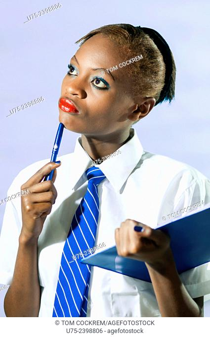 Kenyan school girl in studio setting