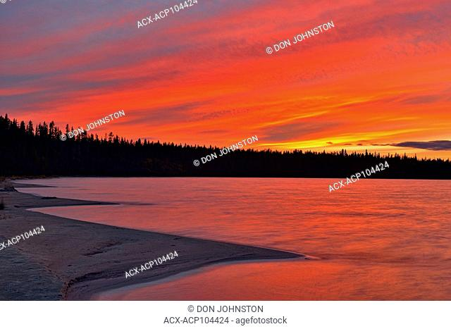 Pine Lake shoreline at sunset, Wood Buffalo National Park, Alberta, Canada