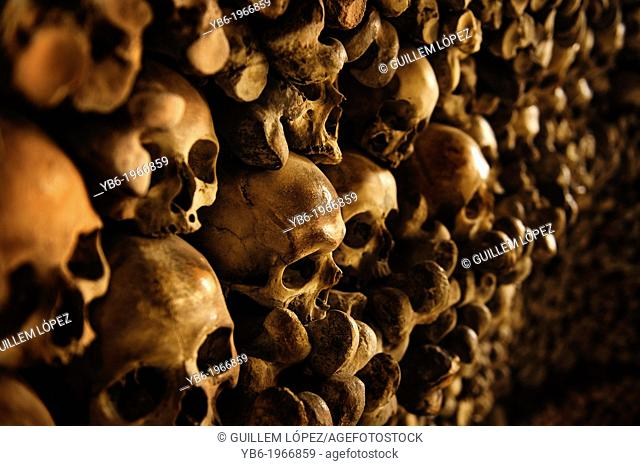 Human Skulls and bones in the wall of the Skull Chapel (Kaplica Czaszek) in Czermna, Poland