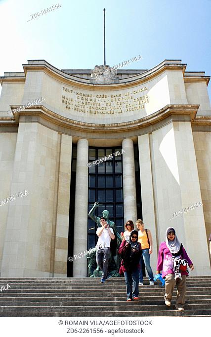 Tourists going down stairs of the Palais de Chaillot near the Trocadero esplanade, Paris, Ile de France, France, Europe