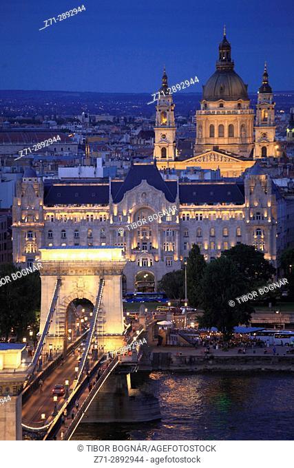 Hungary, Budapest, Danube River, Chain Bridge, Gresham Palace, Basilica