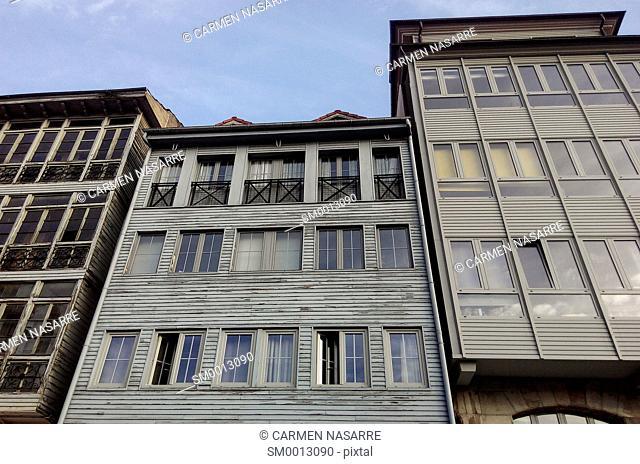 Asturian traditional houses facades