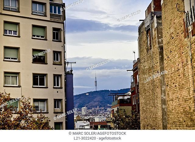Cityscape. Buildings, Collserola mountain, communications tower. Barcelona, Catalonia, Spain