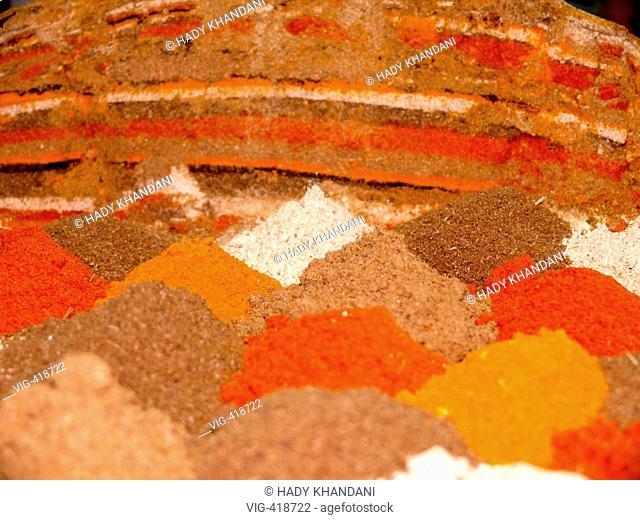 on a bazar in Bahrain: spices - Manama, Bahrain, Koenigreich Bahrain, 30/11/2006