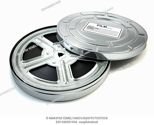 Film reel and box. Video, movie, cinema vintage concept. 3d