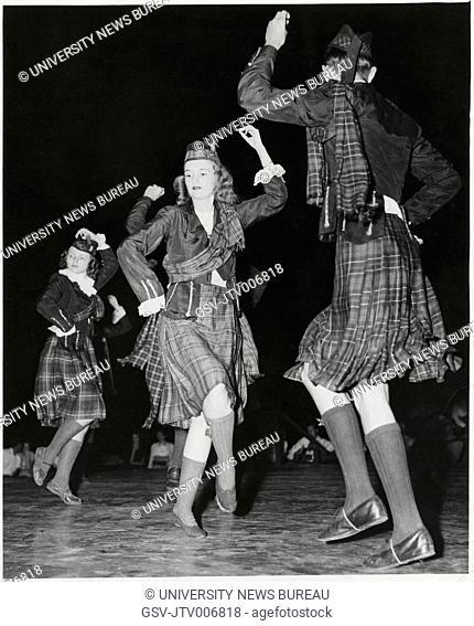 High School Students From Fayetteville, NC, Performing Highland Fling at Carolina Folk Festival, North Carolina, USA, 1955