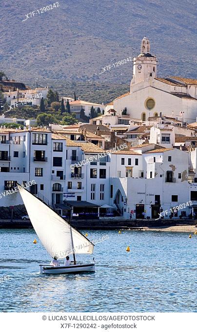 Cadaqués  Traditional catalan sailboat 'Vela Latina'  Costa Brava  Girona province  Catalonia  Spain
