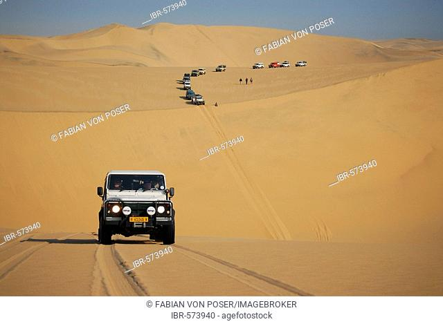 Jeeps in the dunes at Conceprion Bay, Diamond Area, Namibia