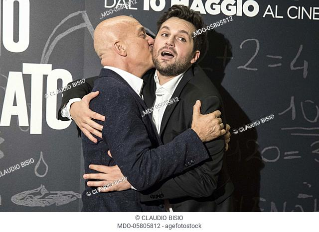 The italian actor and presenter Claudio Bisio and the italian actor Frank Matano at the photocall of the film Tonno Spiaggiato