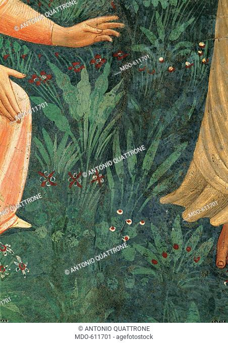 Noli me tangere, by Guido di Pietro (Piero) known as Beato Angelico, 1438 - 1446, 15th Century, fresco. Italy, Tuscany, Florence, San Marco Convent, cell 1