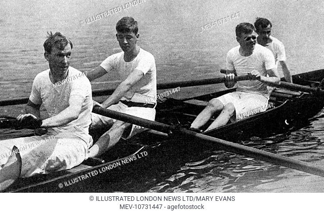 Blinded soldiers from St. Dunstan's home for blinded sailor and soldiers in Regent's Park, rowing in the boat they rowed to victory over the students of...