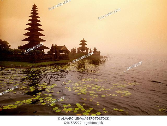 Pura (temple) Ulun Danu in Lake Baratan. Bali Island, Indonesia