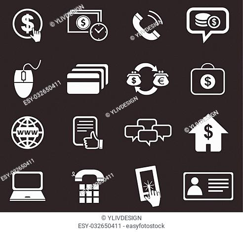 Finance icon set 5, simple white image on black background