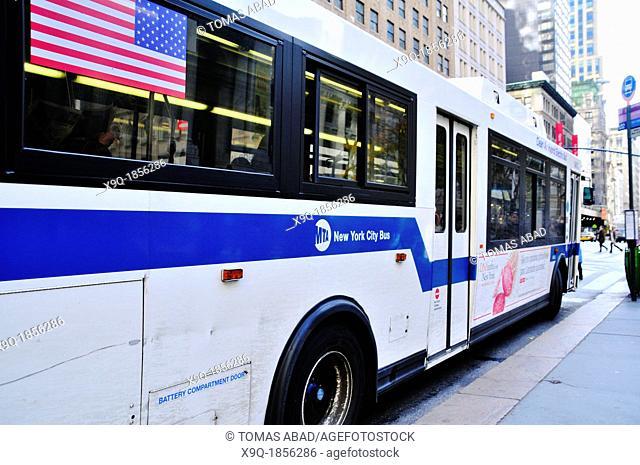 New York City Public Transportation Bus, Manhattan, New York City, USA