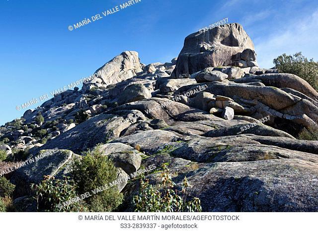 Brezos and Sirio cliffs in the Pedriza. Regional Park del Ato Manzanares. Manzanares el Real. Madrid. Spain. Europe