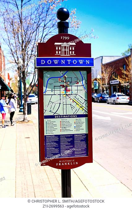 Tourist information map on the sidewalk in downtown Franklin, Tennessee, some 21 miles from Nashville