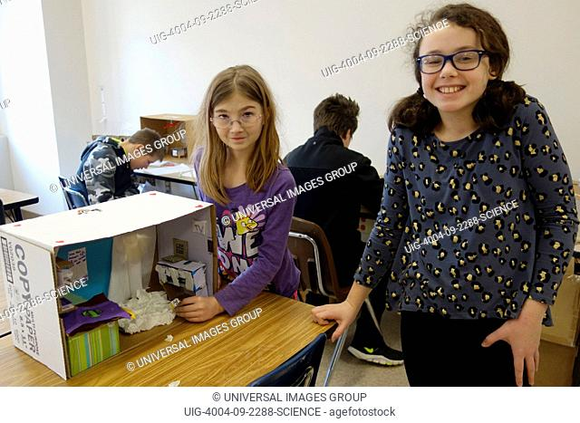 6th Grade Girls Working on Model Shelter for Science Project, Wellsville, New York