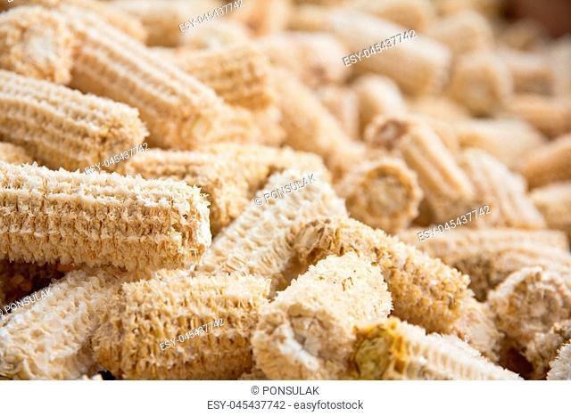 close up of Cob meal Ground corn cob