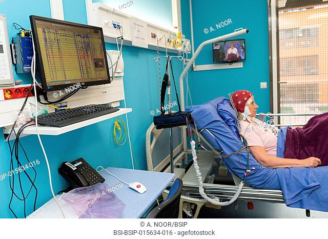 Reportage in the epileptology unit in Nice Hospital, France. This patient has been hospitalized in the neurology service following unexplained seizures