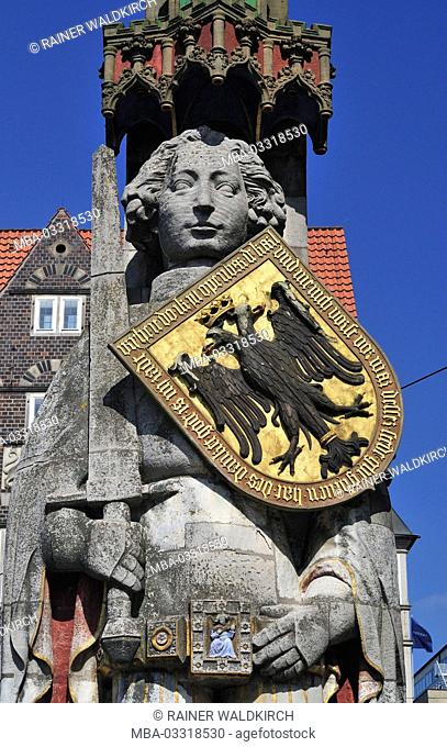 Germany, free Hanseatic town Bremen, Rolandsstatue, established in 1404