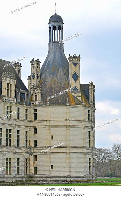One of the unusual towers surmounted with a domed pavilion at the Chateau de Chambord