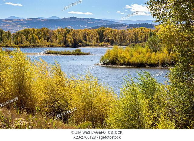 Granby, Colorado - The Windy Gap Reservoir, which diverts water from the Colorado River for cities on the Front Range, which is on the other side of the...