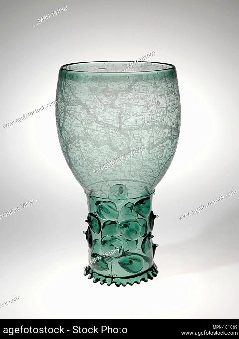 Goblet (Roemer). Date: early 17th century; Culture: Dutch, probably Amsterdam; Medium: Glass, engraved wtih a diamond point; Dimensions: H. 11 1/4 in