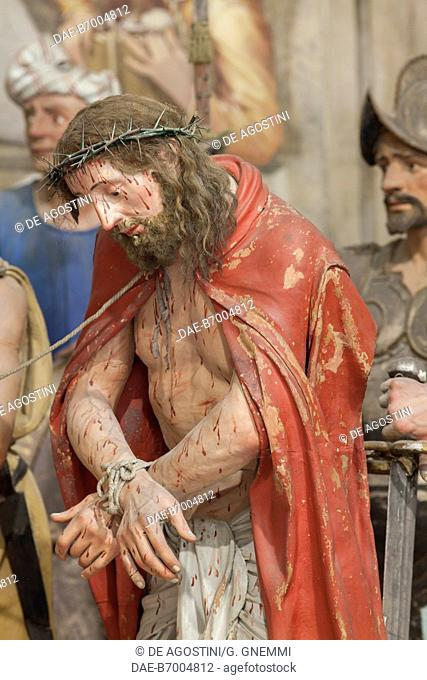 Scourging of Jesus, statue from the Sacred Mountain of Varallo (UNESCO World Heritage List, 2003), Piedmont. Italy, 15th-17th century