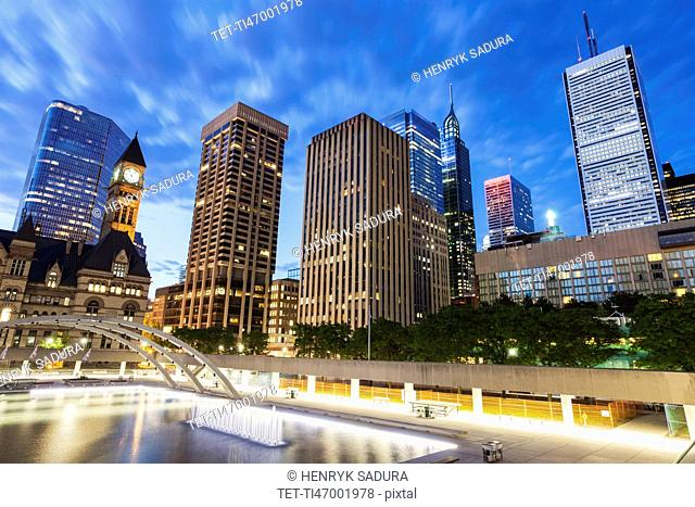 Canada, Ontario, Toronto, Modern architecture with tower of Old City Hall