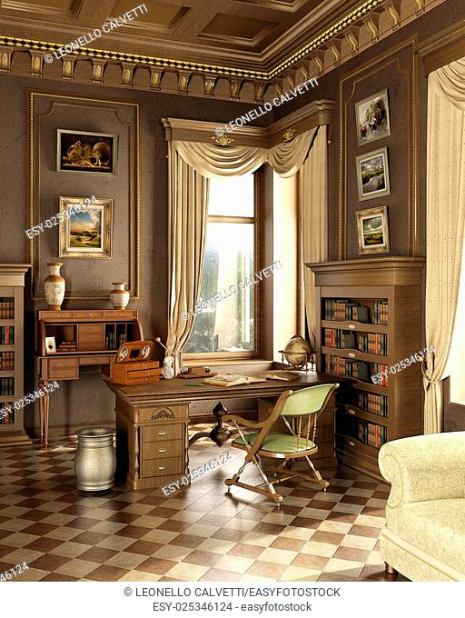 Classic old studio room. With working place desk and several antique objects. Window on garden