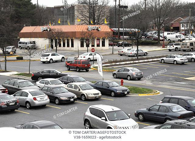 Mall shopping center parking lot in Greenbelt, Marylandj