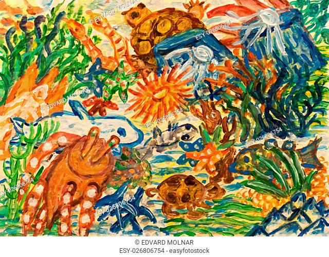 Underwater landscape with coral reef. Abstract acrylic painting
