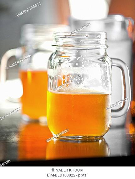 Mason jars of beer