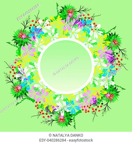 round wreath of field flowers of chamomiles, twigs, burdock and red berries, empty space in the middle, green background