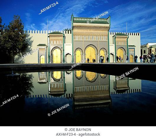 Doors of Royal Palace Dar el- Makgzen Fes, Fes el- Jdid Middle Atlas, Morocco
