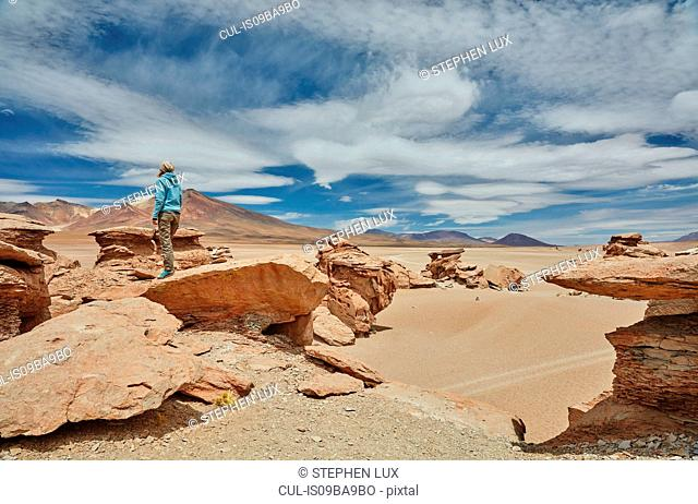 Woman standing on rock, looking at view, Villa Alota, Potosi, Bolivia, South America