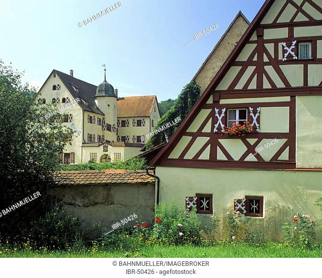 Kirchensittenbach district of Nuremberg country Middle Frankonia Bavaria Germany framework house