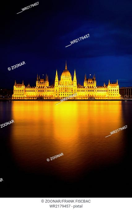 Hungarian Parliament Building in golden light, Bud