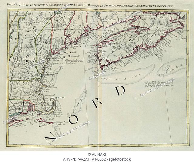 Acadia, the Provinces of Sagadahoc and Maine, New Hampshire, Rhode Island and part of Massachusetts and Connecticut, engraving by G