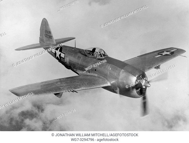 EUROPE -- 1940s -- A Republic P-47N Thunderbolt flew its first combat mission - a sweep over Western Europe. Used as both a high-altitude escort fighter and a...