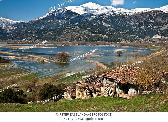 Looking across the Stymphalian Lake towards Mount Killini Ziria in southern Korinthia, Peloponnese, Greece
