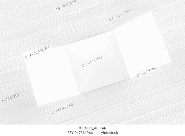 Square three fold brochure mock up isolated on wooden table. 3D illustrating
