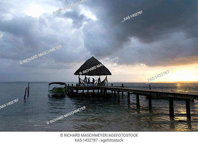 Boat dock at sunset, Isla Bastimentos, Bocas del Toro, Panama
