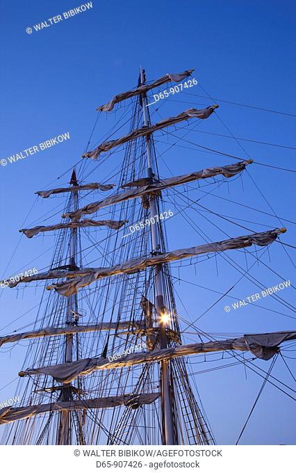 Italy, Sardinia, Cagliari, tall ship, harborfront