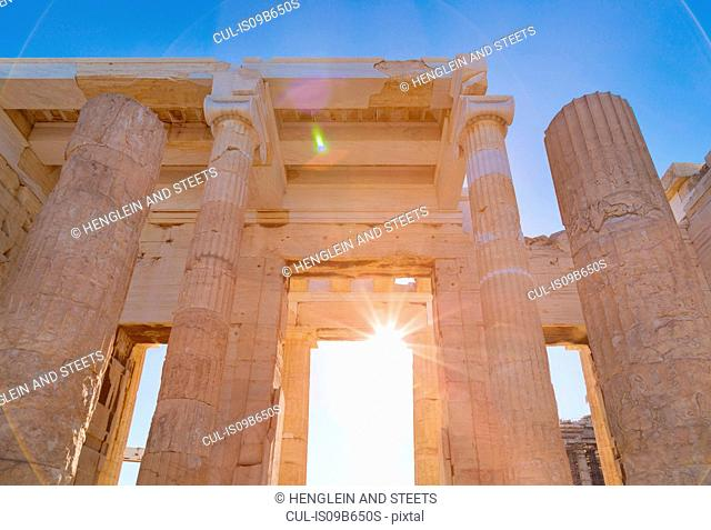 Sunlight on the acropolis ruins, Athens, Attiki, Greece, Europe