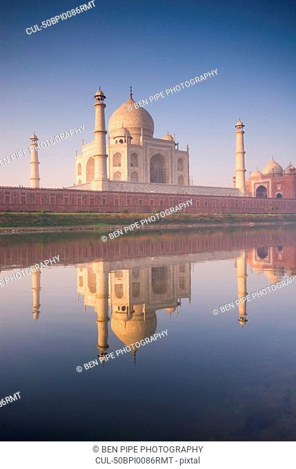 Taj Mahal reflected in still pool