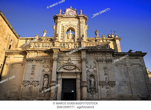 View of the Piazza del Duomo with the light of the sunset in Lecce, Italy