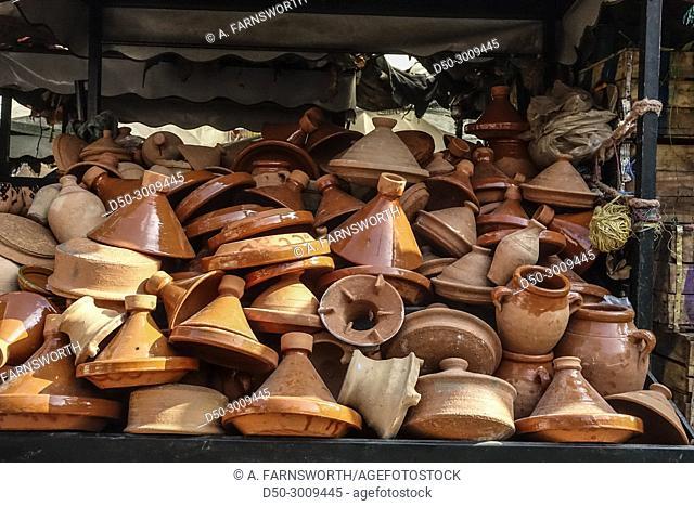 MARRAKECH, MOROCCO. Medina, Souk. Tajine, pottery