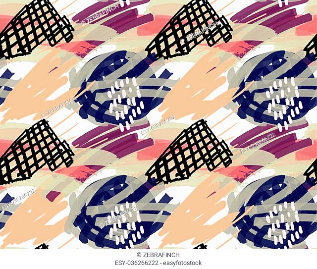Artistic color brushed strokes with black checkered triangle.Hand drawn with ink and marker brush seamless background.Abstract color splush and scribble design