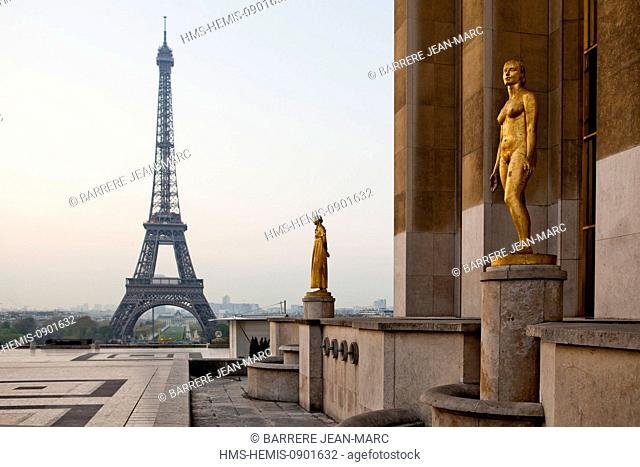 France, Paris, area listed as World Heritage by UNESCO, Place du Trocadero, Parvis des Droits de l'Homme and Eiffel Tower